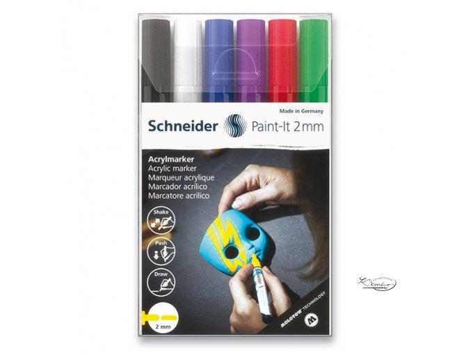Akrylový popisovač Schneider souprava 6 / 2 mm
