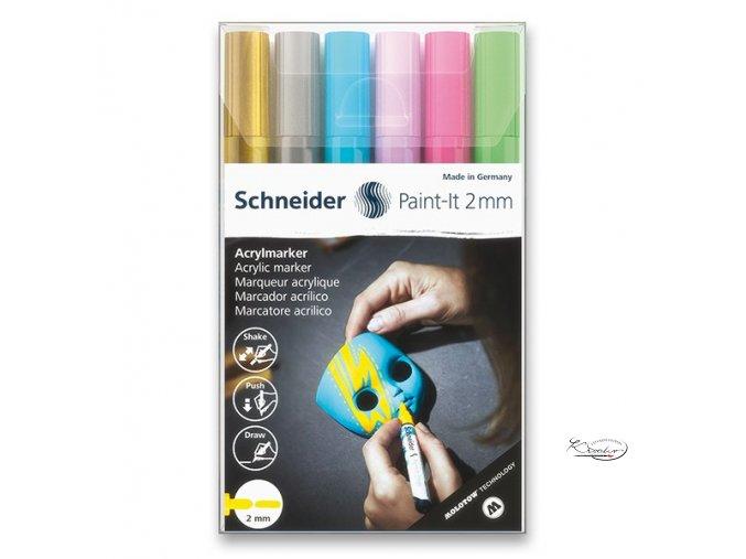 Akrylový popisovač Schneider souprava 6 / 2 mm - pastelové