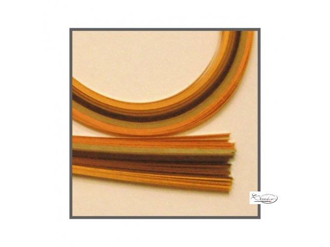 Papírové proužky 50x0,5cm set oranžovo-hnědý