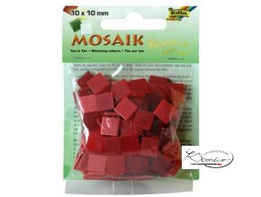Mozaika plastová 10x10 mm - Červená