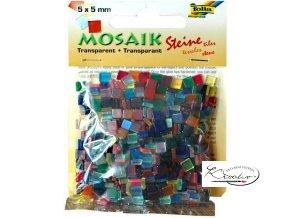 Mozaika plastová 5 x 5 mm -průhledná Mix barev