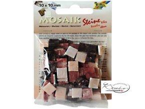 Mozaika plastová 10 x 10 mm - Mramorová Růžový mix