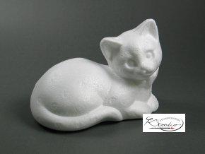Polystyren Kočka ležící 12,5x10 cm