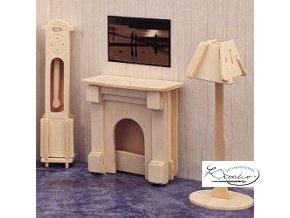 Dřevěná skládačka 3D puzzle - Krb