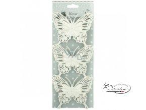 Motýli glitroví bílí 10 cm / 3 ks
