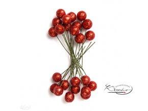 Dekorační cesmína glitter - červená 24ks