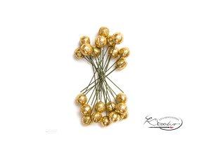 Dekorační cesmína glitter - zlatá 24ks