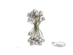 Dekorační cesmína glitter - stříbrná 24ks
