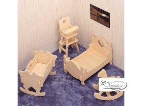 Dřevěná skládačka 3D puzzle - Dětský pokoj