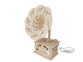 Dřevěná skládačka 3D puzzle - Gramofón