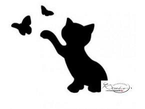 Plastová šablona - Kočička s motýlkem