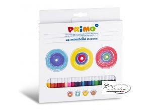 Kvalitní lakované šestihranné pastelky s vysokým množstvím pigmentu - barvy jsou sytých odstínů. Pastelky mají průměr 3,8mm oproti klasickým (Primo), které mají průměr  2,9mm. Jsou vhodné pro všechny druhy papíru. Sada 24 barev.