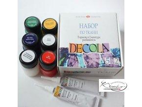 Sada barev na textil Decola - 5 barev + 2 kontury