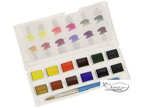 Akvarelové barvy Daler Rowney - Travel Set 12+1 štětec