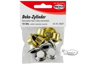 Dekorační cylindr - zlatý + stříbrný