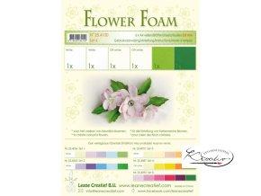 Speciální pěnová guma na výrobu květin A4 - zeleno bílá