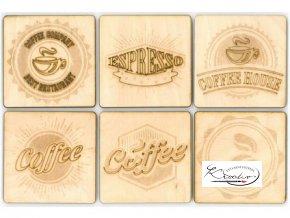 Dřevěné podtácky - káva