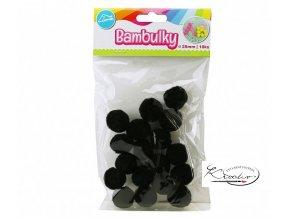Bambulky černé 25mm / 18 ks