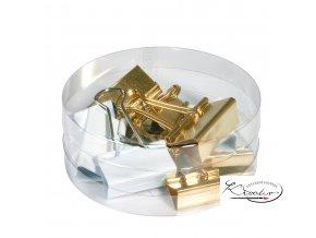 Klip Binder 12 zlaté / bílé v plastové dóze