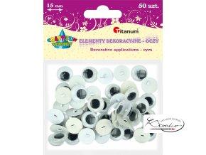Plastové pohyblivé oči našívací - 15 mm / 50ks