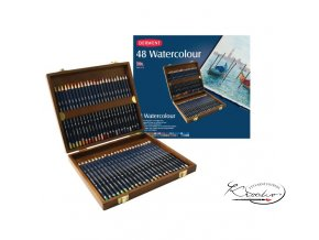 Akvarelové pastelky Derwent 48 ks v dřevěném kufříku