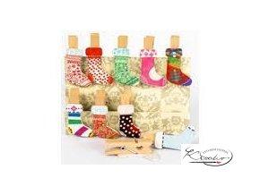 Kolíčky dekorační - Vánoční punčocha 10 ks