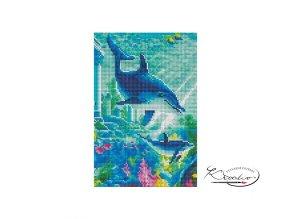 Mozaika diamantová - Delfíni