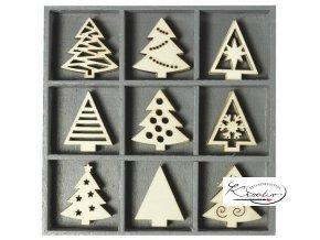 Dekorační sada dřevěná - Vánoční stromky