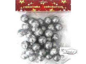 Polystyrénové kuličky, třpytivé 2,5 cm -  stříbrné