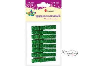 Dekorační třpytivé kolíčky - zelené