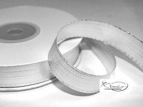 Stuha metalická 25 mm / 2 m - stříbrná