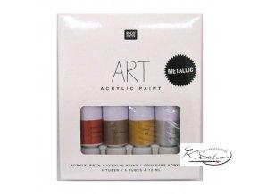 Akrylové barvy Rico Art - Metallic 4 x 12 ml