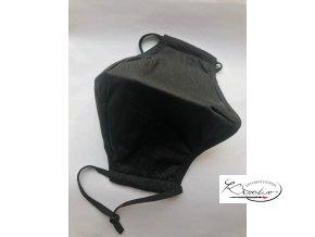 Rouška bavlněná dvouvrstvá s kapsou na filtr - černá