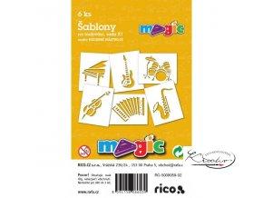 Magic papírové šablony sada X1 - Hudební nástroje