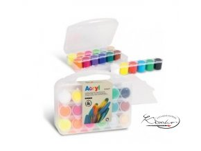 Akrylové barvy PRIMO - 18 x 25 ml + 2 x mini plátno
