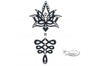 NALEPOVACÍ ŠPERKY - Lotos černý crystal