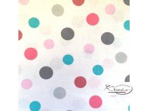 BAVLNĚNÁ LÁTKA 50 X 80 CM - Barevné puntíky