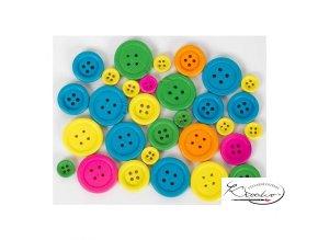 Knoflíky dřevěné 30 ks - Neonové