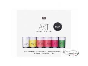 Akrylové barvy Rico Art - Neonové 6 x 12 ml