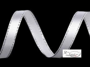 Stuha Atlasová s lurexem 10 mm x 22 m - Bílá