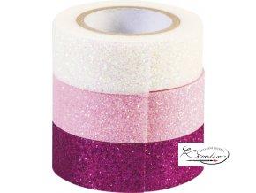Dekorativní páska 1,5 cm x 3 m Glitr pink / růž / bílá