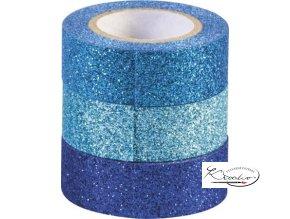 Dekorativní páska 1,5 cm x 3 m Glitr tyrkys / modrá / sv.modrá