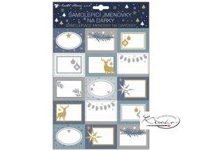 Samolepicí jmenovky na dárky s glitry 30 x 20 cm / 15 ks
