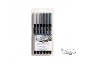 Sada uměleckých fixů LYRA Aqua Brush Duo 6 - Grey Tones