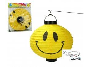 Lampion svítící 25cm kulatý Smile