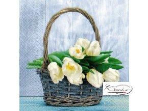 Ubrousek 33 x 33 cm / 20 ks - Tulips in the Basket