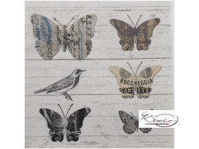 Ubrousek 33 x 33 cm / 20 ks - Paper butterflies
