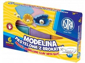 Modelína ASTRA teplem tvrditelná 6 barev - Pastelová s brokátem