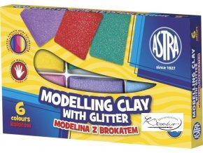 Modelína ASTRA teplem tvrditelná 6 barev s brokátem