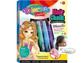 Křídy na vlasy Colorino metalické 5 ks